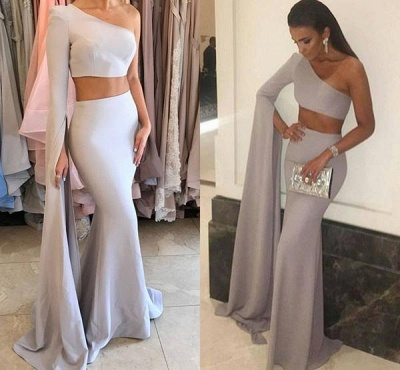 Chicloth Stunning Two-Pieces One-Shoulder Mermaid Floor-Length Prom Dress_3