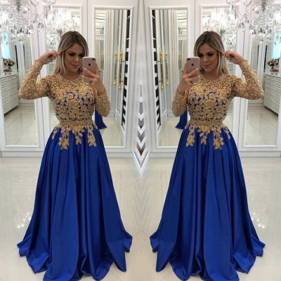 Modern Royal Blue & Gold Lace Evening Dress | Long Sleeve Party Gown_2