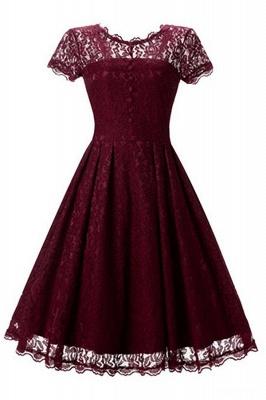 Lace Black Button Chic Elegant Vintage Dresses_6