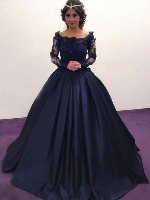 Chicloth Ball Gown Bateau Long Sleeves Sweep/Brush Train With Applique Satin Dresses_1