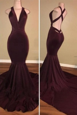 Chicloth Sexy Burgundy Mermaid Prom Dresses Crisscross Back Evening Gowns_1