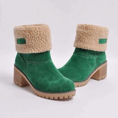 Chicloth Nubuck Chunky Heel Slip-On Round Toe Boots_2