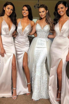 Chicloth V Neck Straps Long Maid Of Honor?Bridesmaid Dresses_1