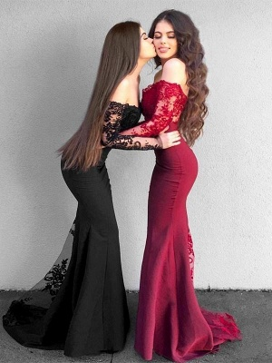 Chicloth Mermaid Long Sleeves Off-The-Shoulder Sweep/Brush Train With Applique Satin Dresses_1