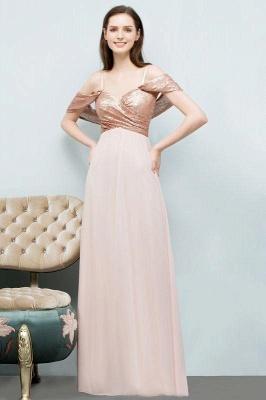Chicloth A-line Chiffon Sequins Straps Sweetheart Sleeveless Floor-Length Bridesmaid Dresses_1