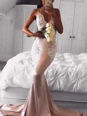 Chicloth Mermaid Straps V-Neck Sleeveless With Applique Sweep/Brush Train Satin Dresses_1