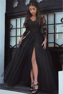 Chicloth Glamorous Black Long-Sleeve Lace Slit Evening Dress_1
