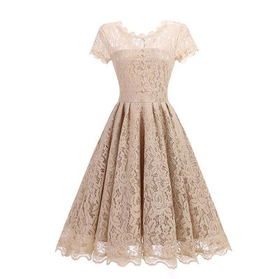 A| Chicloth Women Floral Lace Short Sleeve Vintage Lady Party Swing Bridesmaid Dress_3