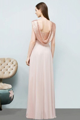 Chicloth A-line Chiffon Sequins Straps Sweetheart Sleeveless Floor-Length Bridesmaid Dresses_2