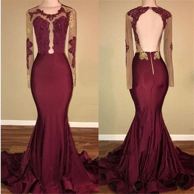 Chicloth Amazing Burgundy Gold Prom Dresses | Sexy Open Back Mermaid Evening Gowns_3