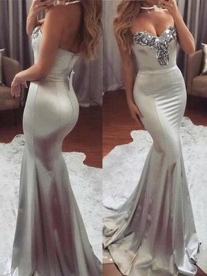 Chicloth Mermaid Sleeveless Sweetheart Sweep/Brush Train Sequin Satin Dresses_1