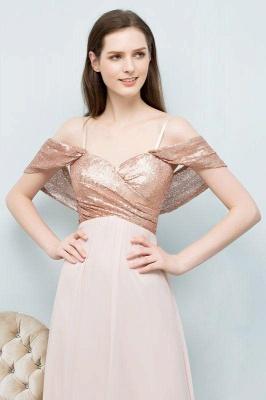 Chicloth A-line Chiffon Sequins Straps Sweetheart Sleeveless Floor-Length Bridesmaid Dresses_4