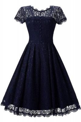 Lace Black Button Chic Elegant Vintage Dresses_4