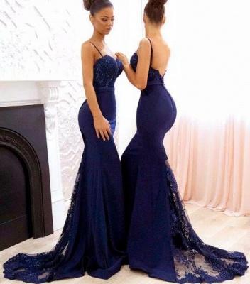 Chicloth Elegant Dark Navy Bridesmaid Dresses   Spaghettis Straps Lace Prom Dresses_2