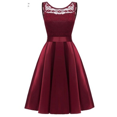 A| Chicloth Sleeveless Burgundy Knee-Length Women's Lace Dress_4