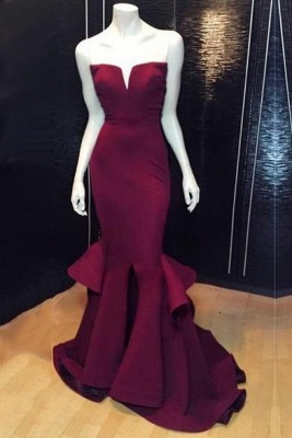 Chicloth Popular Burgundy Mermaid Long Evening Dress Sexy Simple Cheap Notched Slit Prom Gown CJ0397_1