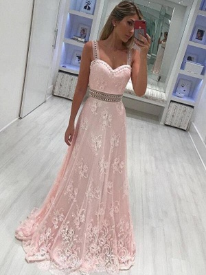 Chicloth A-Line Sweetheart Sleeveless Floor-Length With Applique Satin Dresses_1