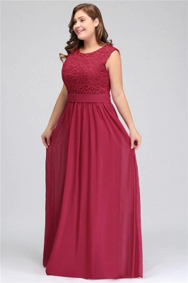 A| Chicloth Crew Neck Lace Bridesmaid Dress Plus Size Prom Evening Dress Formal_2