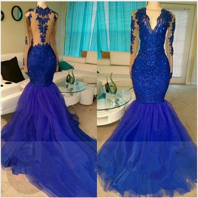 A| Chicloth Royal-Blue Long-Sleeve Beading Sequins V-neck Appliques Mermaid Tulle Prom Dresses_3