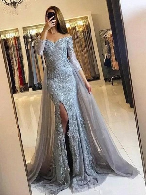 Chicloth Mermaid Long Sleeves Off-The-Shoulder Sweep/Brush Train Tulle Lace Dresses_1