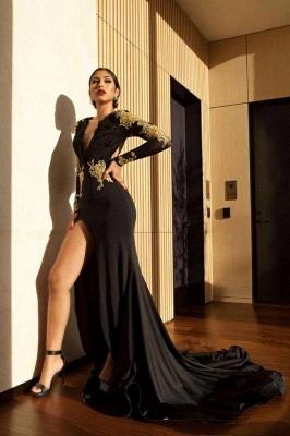 Chicloth Black Long Sleeve Prom Dress | 2019 Gold Appliques Mermaid Evening Dress_2