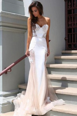 Chicloth Sexy Mermaid Sweetheart Tulle Long Evening Dress Lace Custom Made 2019 Evening Party Dresses_1