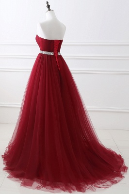 Women's Strapless Soft Tulle Dark Red Prom Dress_12