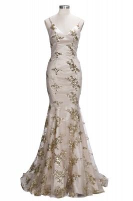 Spaghetti Staps Mermaid V-neck Floor length Crystal Beads Prom Dresses_12