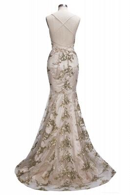 Spaghetti Staps Mermaid V-neck Floor length Crystal Beads Prom Dresses_13