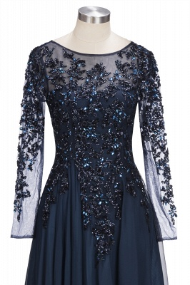 A-line Long Sleeves Crystals Tulle Floor Length Prom Dresses_5