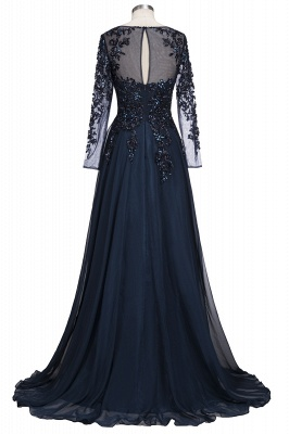 A-line Long Sleeves Crystals Tulle Floor Length Prom Dresses_3