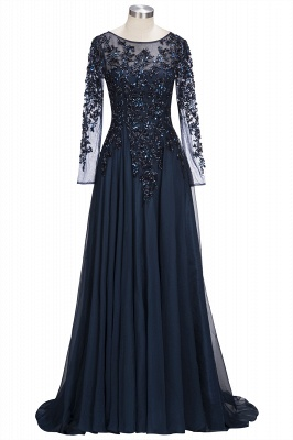 A-line Long Sleeves Crystals Tulle Floor Length Prom Dresses_1