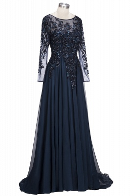 A-line Long Sleeves Crystals Tulle Floor Length Prom Dresses_4