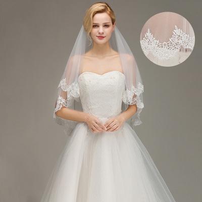 White Elegant Two Layers Lace Edge Long Wedding Veil_3