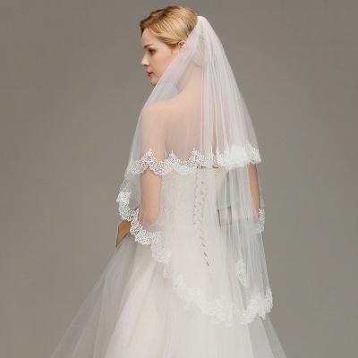 White Elegant Two Layers Lace Edge Long Wedding Veil_5