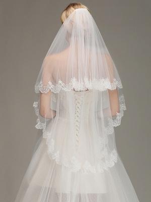 White Elegant Two Layers Lace Edge Long Wedding Veil_2