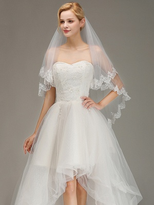 White Elegant Two Layers Lace Edge Long Wedding Veil