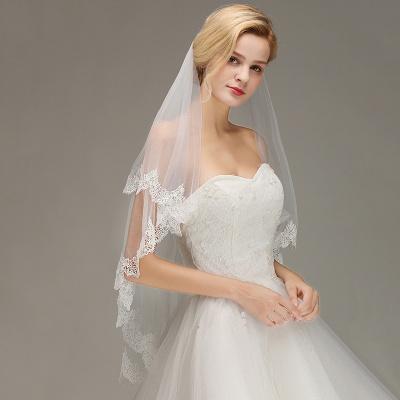 White Elegant Two Layers Lace Edge Long Wedding Veil_4