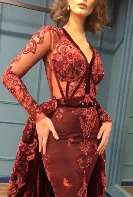 Sparkly Beading Burgundy Appliques Long Sleeves Prom Dress_3