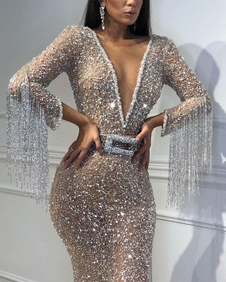 Mermaid Tulle Sequins Deep V-Neck 3/4 Sleeves Floor-Length Prom Dress with Tassels_4