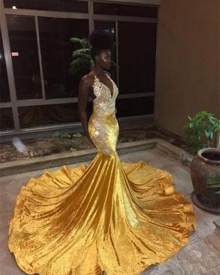 Elegant Appliques V-Neck Sleeveless Mermaid Yellow Prom Dress_1
