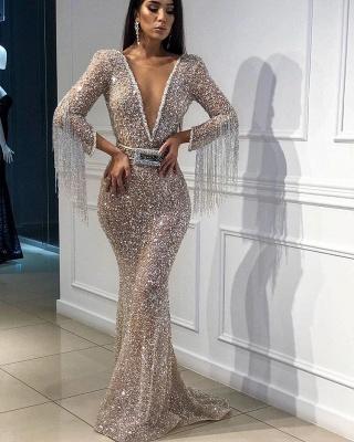 Mermaid Tulle Sequins Deep V-Neck 3/4 Sleeves Floor-Length Prom Dress with Tassels_3