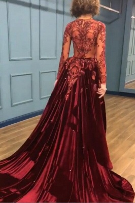Sparkly Beading Burgundy Appliques Long Sleeves Prom Dress_2