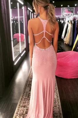 Elegant Mermaid Halter Beads Crystal Long Prom Dress_2