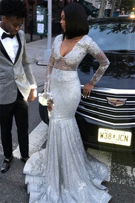 V-Neck Long Sleeves Sequins Mermaid Floor Length Prom Dresses_1