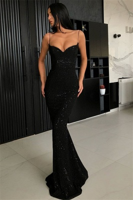 Black Sheath Sequins Spaghetti Straps Open Back Prom Dresses_1