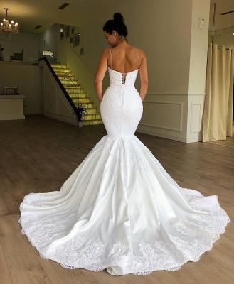 Chicloh Gorgeous Mermaid Spaghetti Straps Sleeveless Lace Wedding Dresses_2