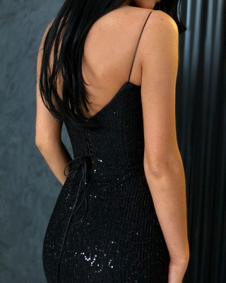 Black Sheath Sequins Spaghetti Straps Open Back Prom Dresses_4