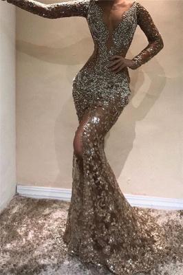 Glamorous Mermaid Sequins Peals Long Sleeves Open Back Prom Dress_1