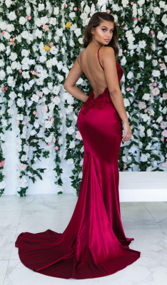 Burgundy Spaghetti-Straps Lace Appliques Mermaid Backless Prom Dress_3
